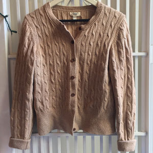 Land's End Canvas tan cable knit cardigan